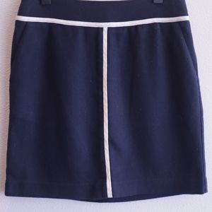 Ann Taylor Navy Blue and White Pipped Skirt
